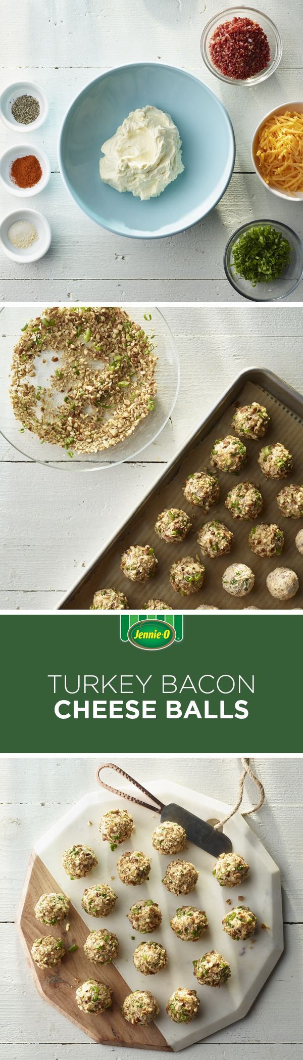 Turkey bacon & cheese -what more could you want in an appetizer? Try it with JENNIE-O® Turkey from the deli!   JENNIE-O® Turkey   Cheese Balls   Turkey Bacon   Bacon Appetizers   Easy Entertaining   Hosting   Easy Appetizers
