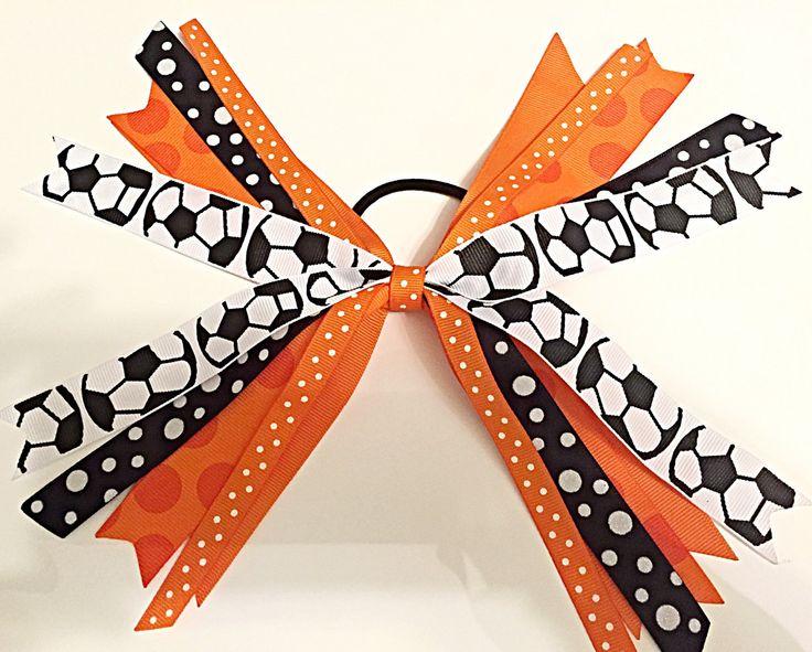 Custom Team Colors Soccer Hair Ties, Soccer Hair Bow, Soccer Ribbons, Orange and Black Soccer Sport Hair Bow by SunshineandBling on Etsy