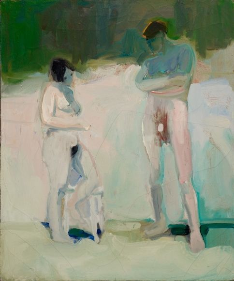 Elmer Bischoff (US 1916-1991)   Untitled (Two Figures), 1960 Oil on canvas (91.5 x 76 cm) You want an apple?  Bay Area Figurative Movement