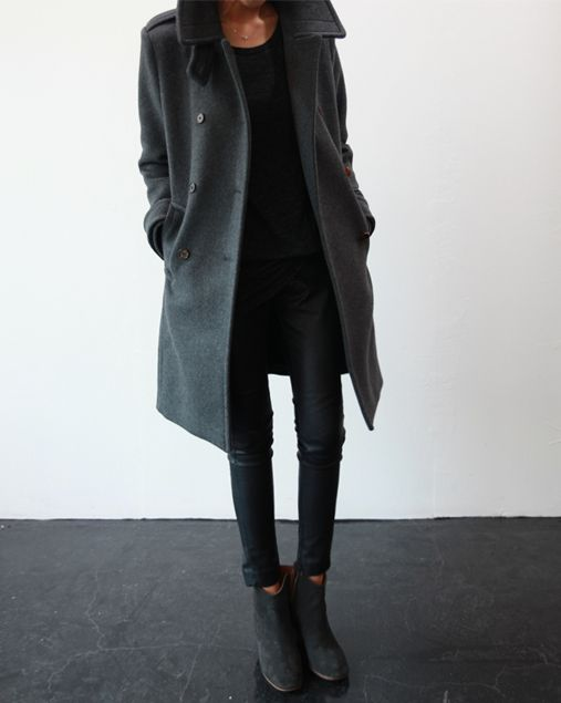 Minimal + Chic | @CO DE + / F_ORM. Grey coat and boots with black skinnies. I would totally love to wear this.