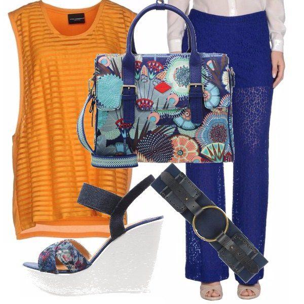 I colori segnalano l'arrivo della primavera e l'estate. Proviamo ad abbinare una maglia lunga vedo non vedo e pantaloni in pizzo blu. Cintura blu e zeppe abbinate alla borsa quasi per caso.