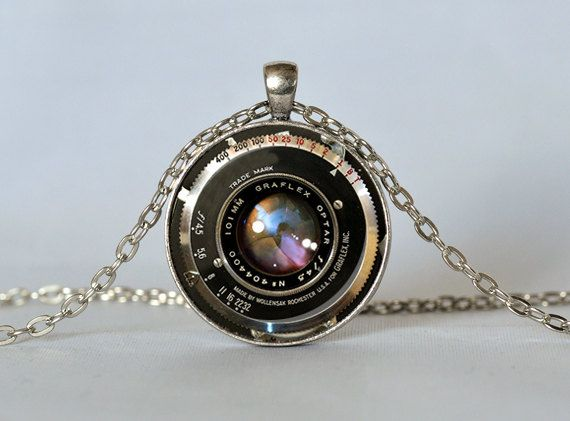 VINTAGE CAMERA LENS Necklace Black Bronze Red Graflex Lens Pendant Camera Pendant Gift for Photographer Photography Not an Actual Lens 25mm