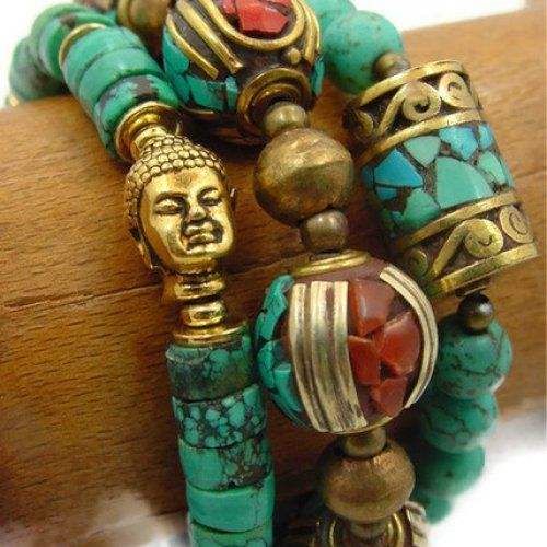 Turquoise Bracelet, Tibetan Bracelet, Nepal Bracelet, Spiritual Jewelry - jewelry by Andrea on etsy