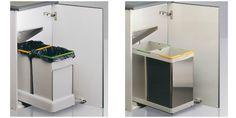 CUBOS DE RECICLAJE EXTRAÍBLE compuestos de 2 contenedores de 14L. Disponibles también en acero inoxidable. La tapa del cubo se levanta de forma automática a la vez que abres la puerta del armario. #cubos #basura #reciclaje