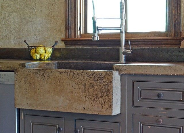 Handmade concrete farm sink, countertop and backsplash - loving concrete lately!