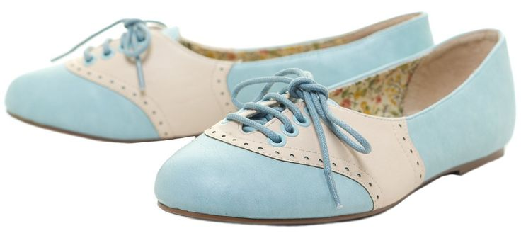BETTIE PAGE HALLE OXFORD FLATS BLUE
