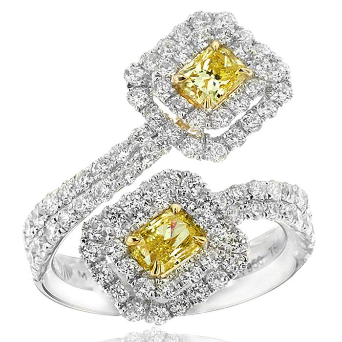 Enchanting Fantasy Diamonds crossover ring featuring two stunning radiant cut yellow diamonds. This unique design is crafted in 18ct yellow gold and luxurious platinum. Contact us to enquire about customising this ring for your finger size.
