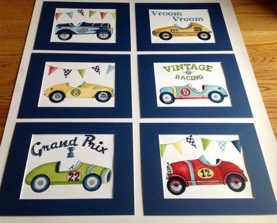 Vintage race car nursery kids wall art for little by terezief, $58.00