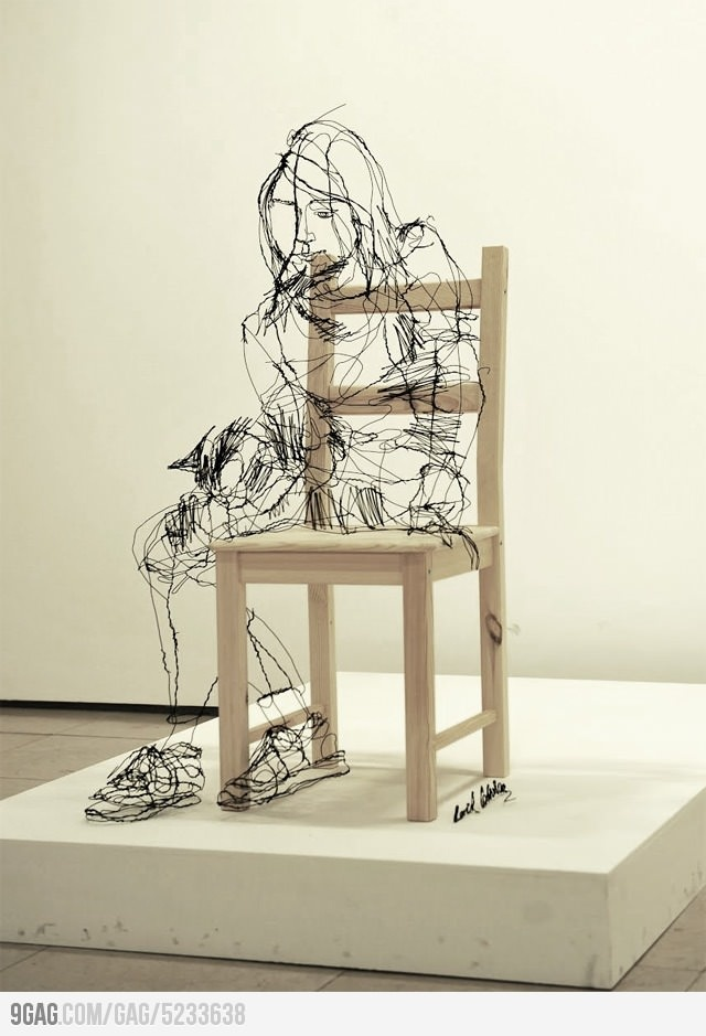 Awesome sculpture made with wire: Inspiration, David Olive, Wire Art, Wire Sculptures, Drawing