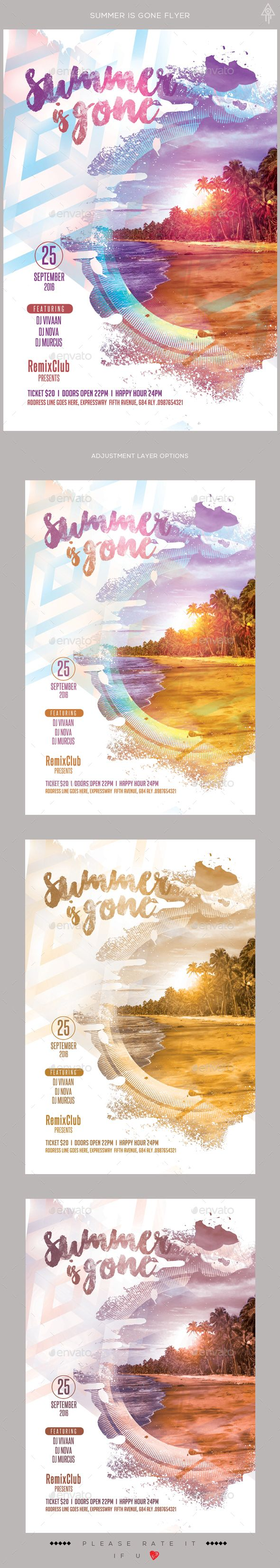 Quick poster design - Summer Is Gone Flyer Event Poster Designpsd