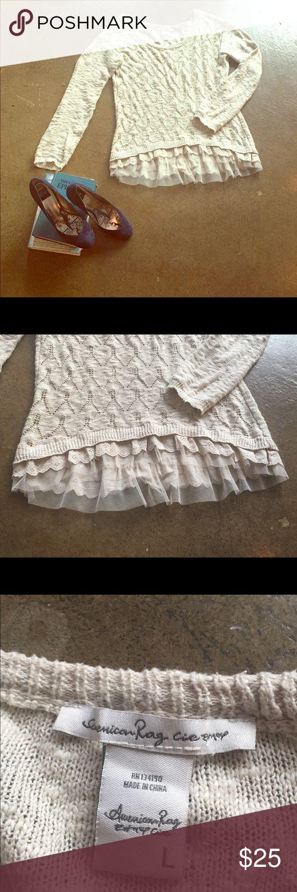 American Rag Shirt Fun boho inspired American Rag shirt. Cream colored lace adds an elegant detail making your look chic and classy. American Rag Tops Sweatshirts & Hoodies