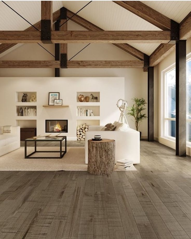 Love the high ceiling/ beams that draw your eye up...