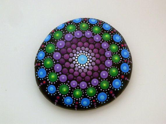 Bohemian dot art-mandala stones-painted rocks-spring