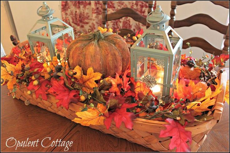 Opulent Cottage Harvest Basket Centerpiece
