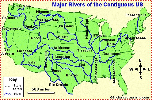 Map Of Us Lakes Rivers Mountains Usa River Map Major Us Rivers In - Map-of-us-showing-mountains
