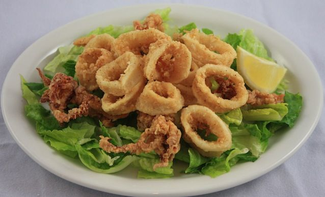 Calamari  ~  YUM!!!  I like to have these in place of French fries, or may be as an appetizer.