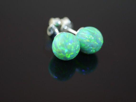 Emerald Green Gilson Opal Studs by kimberleyraine on Etsy