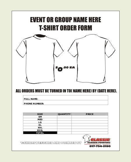 Image Result For T Shirt Order Form Template Tshirts Order Form