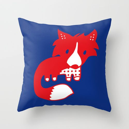 Midnight fox cub Throw Pillow. Tee and Toast now on Society 6