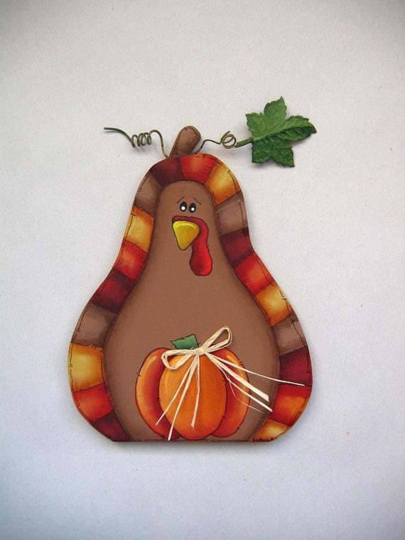 Pumpkin Shaped Turkey Folk Art Tole Painted by barbsheartstrokes, $12.00
