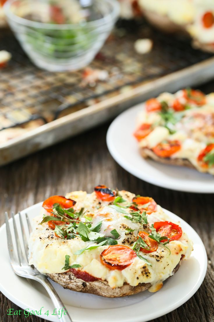 Stuffed portobello pizza   Eat Good 4 Life. Super easy to make and much healthier than regular pizza.