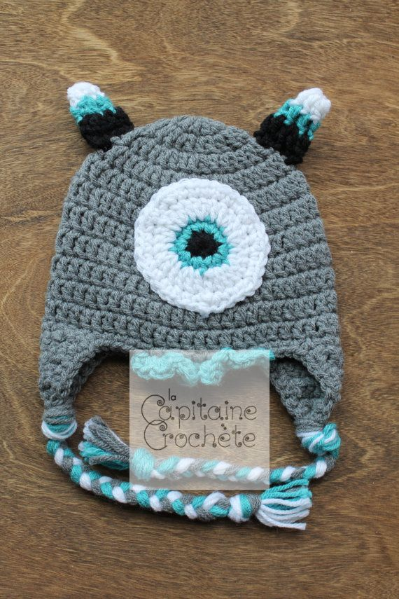 SALE 3-9 months hat monster gray aqua white by LaCapitaineCrochete
