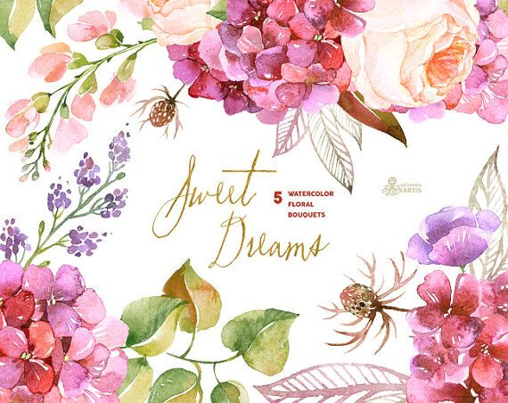 Sweet Dreams: 5 Watercolor Bouquets, hydrangea, roses, poppy, wedding invitation, floral, greeting card, diy clip art, purple flowers