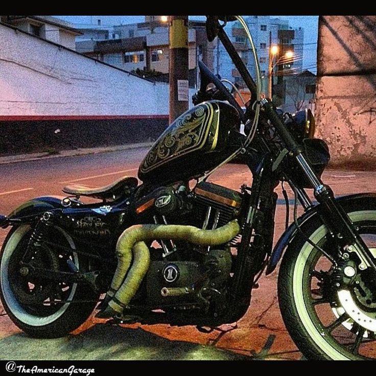 #Repost @theamericangarage  Clean Sporty Bobber | from Brazil @jacarealbino  #theamericangarage #garagebuilt #builtnotbought #bobbers #bobber #americanbobbergarage #bobberlife #bobberculture #bobbedout #bobberporn #bobbedlife #vtwinlife #motolife #motorcycle #custombobber #harleydavidson #rigidbobber #ironhead #shovelhead #evo #sportsterbobber #sportster #883 #harleydavidsonnation by harleysdeminas