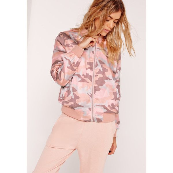 Missguided Satin Camo Bomber Jacket (485 SEK) ❤ liked on Polyvore featuring outerwear, jackets, pink, camo jacket, camouflage bomber jacket, camo bomber jacket, camoflauge jacket and pink jersey
