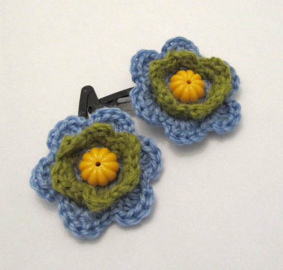 Crochet Flower Hair Clips Azur Green And Yellow Hair by ShopF4m, $10.00