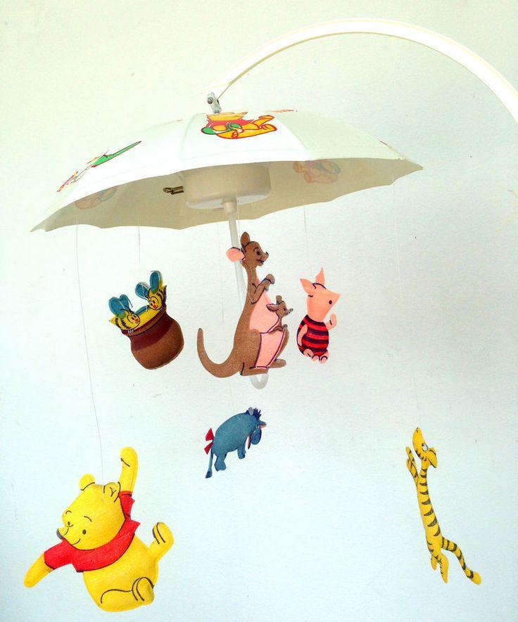 Disney Winnie the Pooh Baby Crib Mobile Musical Vintage MCM #Vintage #Winniethepooh #Baby #Mobile #Midcentury #Thriftytrendzbyjuls
