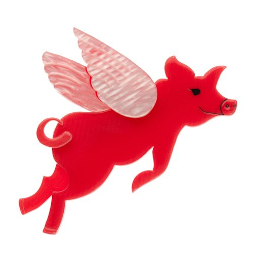 Limited edition, original Erstwilder Pig's Can Fly Brooch in pink. Designed by Louisa Camille Melbourne. Buy now