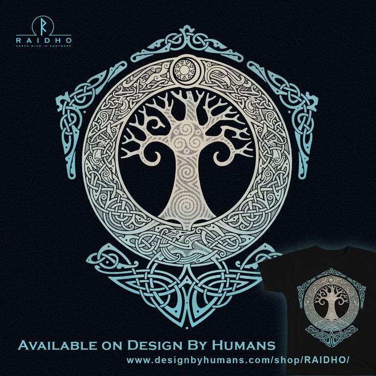 YGGDRASIL. TREE OF LIFE. Knotwork T-Shirt by RAIDHO.