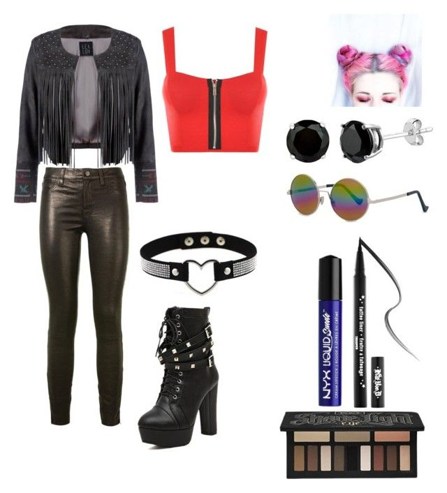 """Entrance look 1"" by mizeleah on Polyvore featuring Lea Lov, J Brand, Cutler and Gross, Kat Von D, NYX and WearAll"