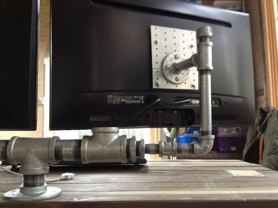 Industrial Iron Pipe 'Dual Monitor Stand' V by CetiAlphaVDesign