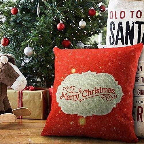 "Christmas Cushion Cover 18"" Lovely Cotton Linen Phrase Art Design Xmas Case Red #easy_shopping08"