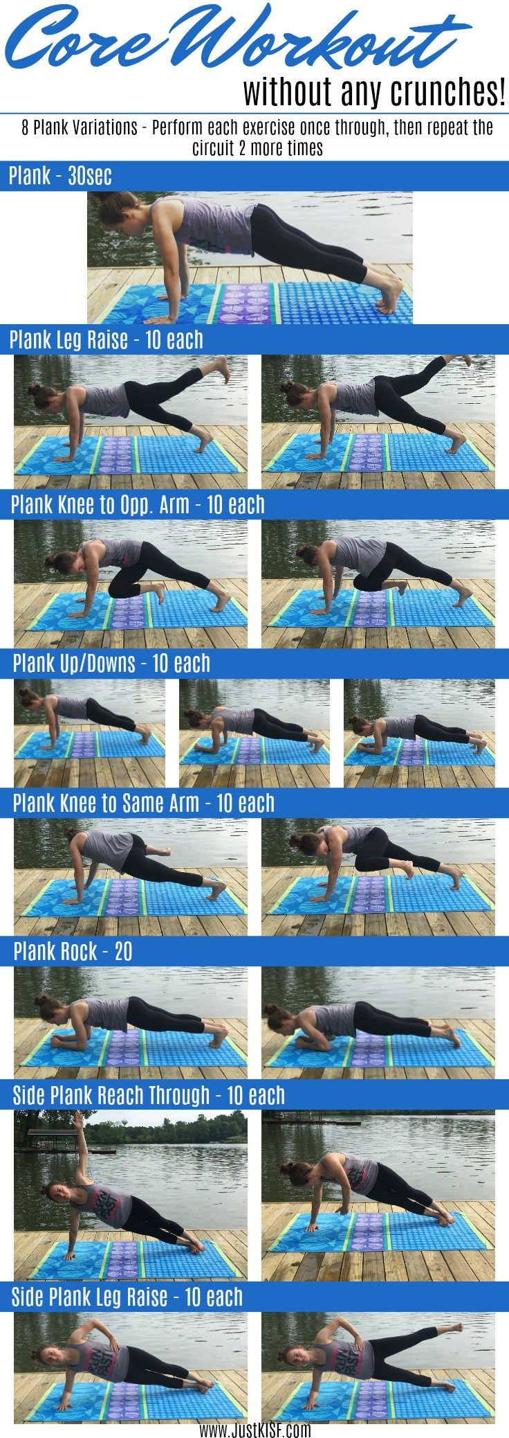 Check out this core July workout of the month without any crunches! 8 different plank variations to target all parts of your core!