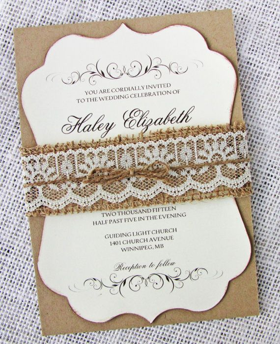 19 best wedding invites images on pinterest brown paper kraft burlap lace wedding invitation rustic wedding by loveofcreating solutioingenieria Gallery