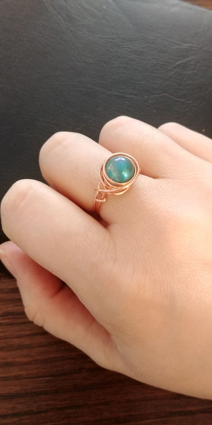 Copper Wire Ring with Blue Bead, handmade, jewelry