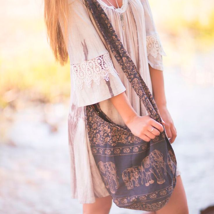 One of our grey tie dye dresses and an elephant bag <3