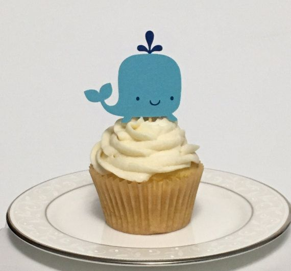 This set of 12 whale cupcake toppers are perfect for birthday parties, baby showers or other parties with a Under the Sea, Aquarium, or Tropical Ocean theme. Use them to top cupcakes, or as food picks to top any platter of food.  Made from acid and lignin free shimmer cardstock. Whales are 2.1 wide, and 2 tall. Also available in cake topper size; please message for details.  Celebrate Paper Co. refunds shipping overages for customers ordering multiple products.