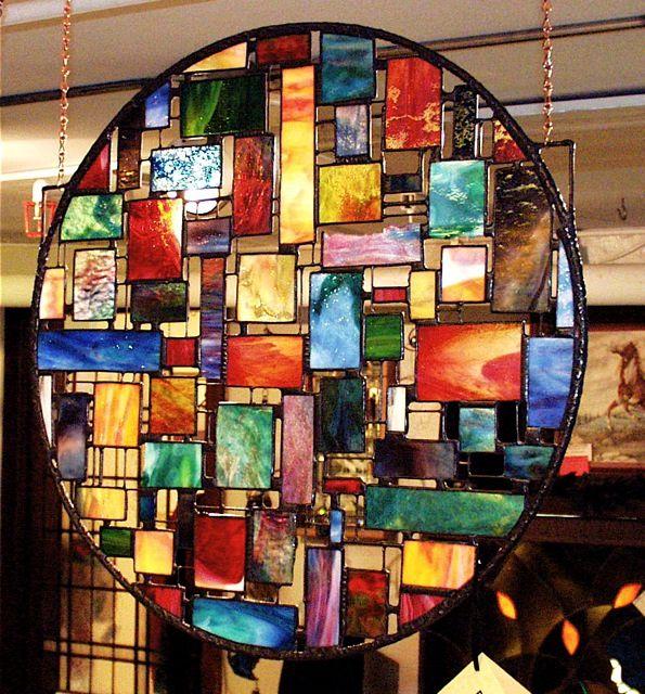 "Abstract Designs www.stainedartglass.com Art Glass & Copper- Showroom Piece- 32"" Dia. $ 1450.00 Sold"