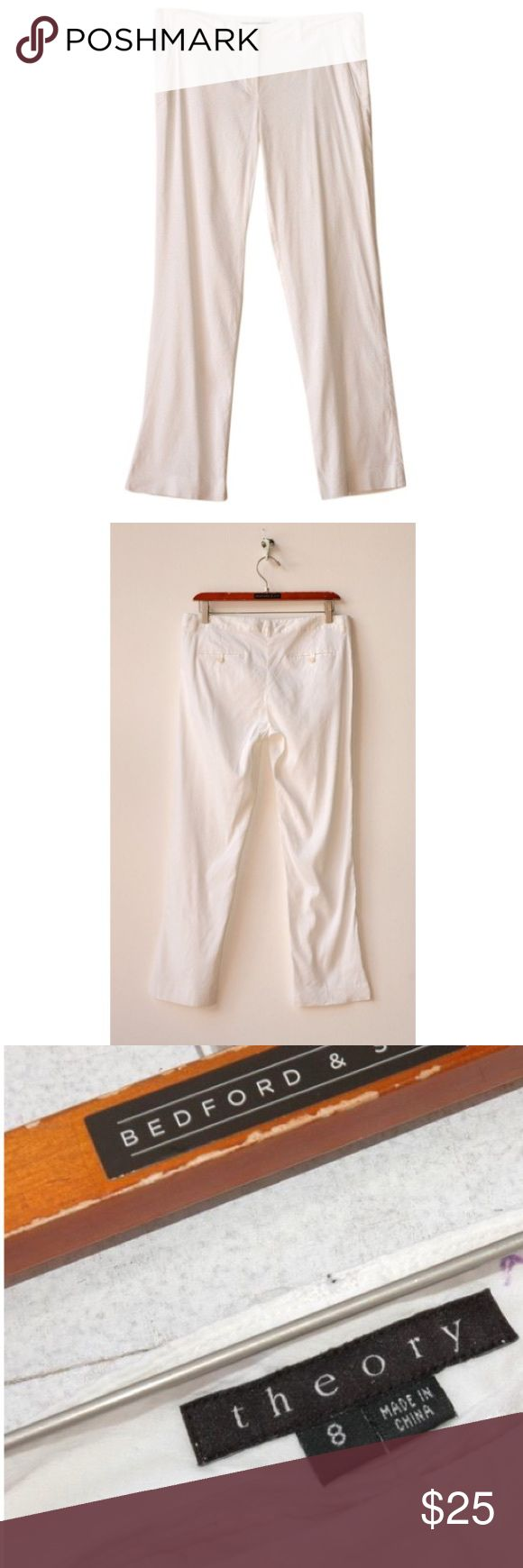 THEORY linen stretch pants BTHE0001  LPU15    * 62% linen, 36% viscose, 2% spandex    Label : theory  Marked size : 8  Estimated size : 8  Color : white  Measurements : shoulder to shoulder: - inches // chest: - inches // waist: 16 inches // rise: 11 inches // length: 27.5 inches  Condition: gently worn  Description: slim leg linen trousers Theory Pants Straight Leg