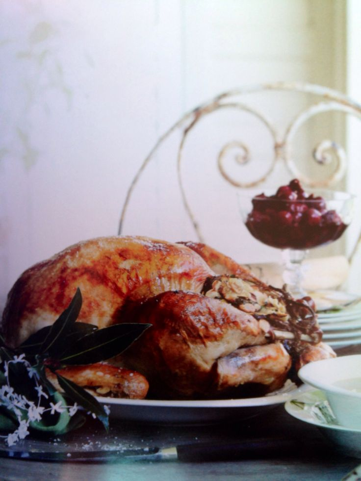 Glorious whole turkey with almond and cherry stuffing