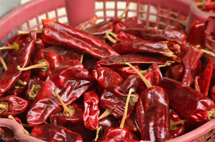 New stock of red chillies in the spice market