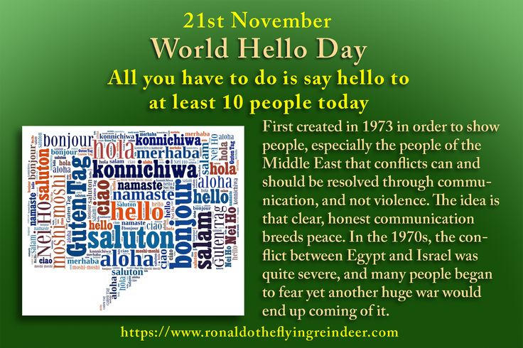 #today 21st November is #WorldHelloDay Many people do not know how good it actually feels to admit you were in the wrong and say sorry—instead, they see such behaviour as a display of weakness, when it is actually a display of strength and confidence. #NationalStuffingDay #hello #ciao  #privyet #konnichiwa #Hola  #helloday #Bonjour