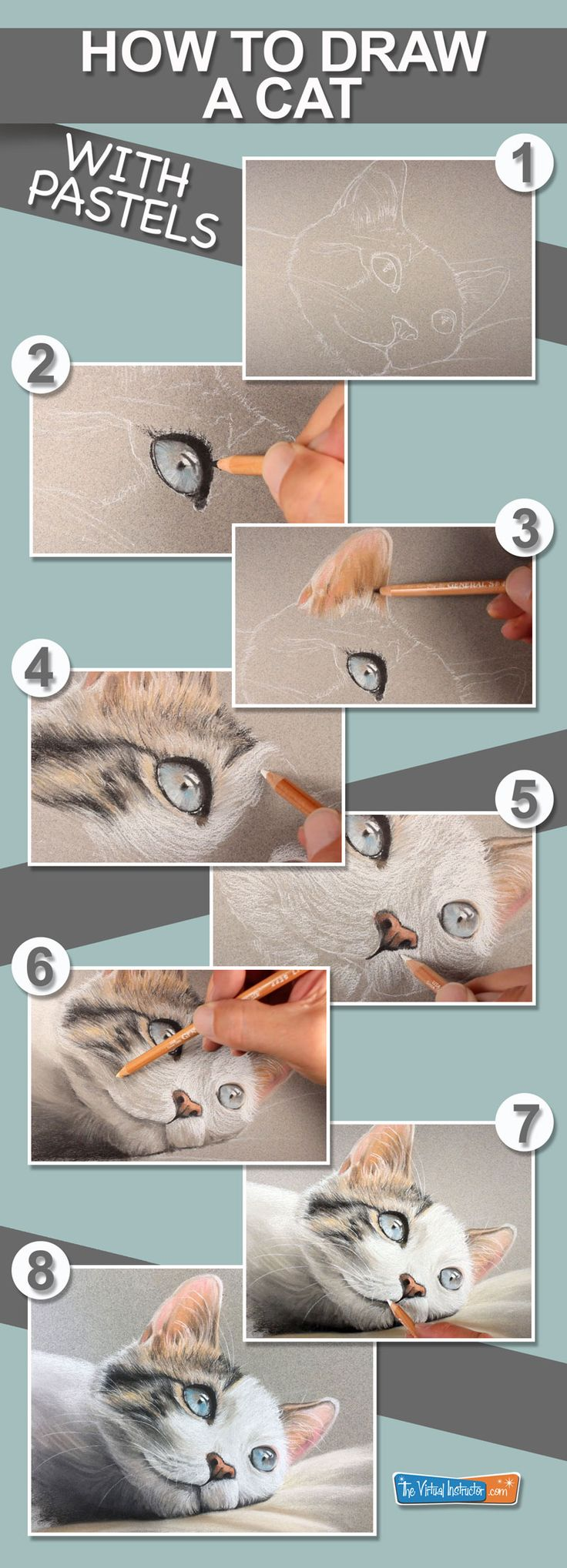 How To Draw A Cat With Pastel Pencils #pastels #cats