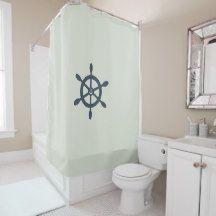 Nautical ships wheel and anchor shower curtain