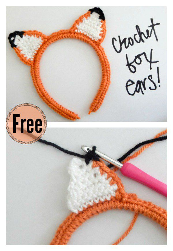 Crochet Fox Ear Headband Free Pattern
