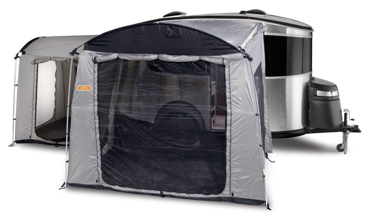 Airstream Basecamp For extra 120 Sq Ft There's also the option of adding on two tents, designed by the outdoor company Kelty, that attach to the rear and side entrances.